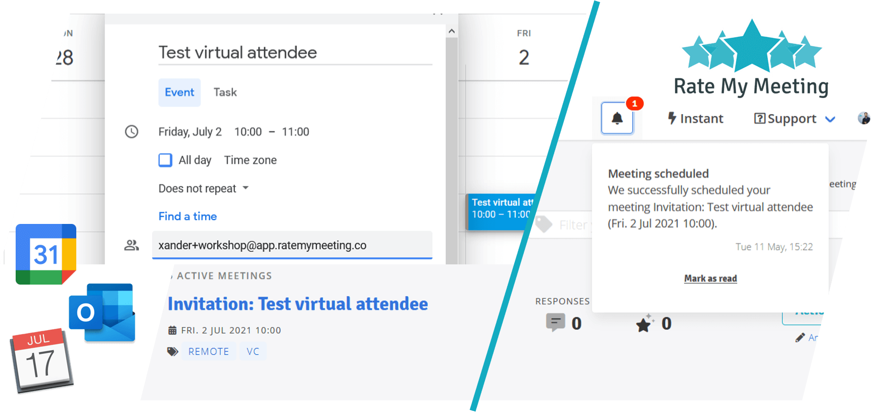 Rate My Meeting integrates seamlessly with Google Calendar and Office 365